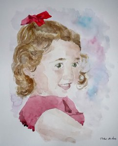 Retrato en acuarela de una niña