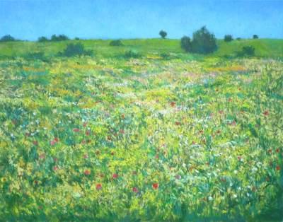 """""""El viento que agita las flores"""", oleo sobre lienzo, 65x50 cms"""
