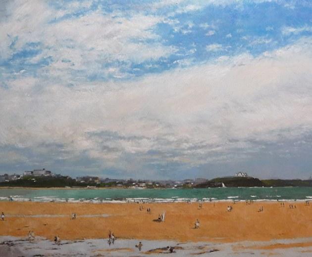 Cuadro al oleo de una vista de Santander desde la playa de Somo
