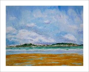 Acuarela de Santander desde la playa del Puntal en Somo.