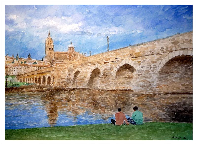 Cuadro en acuarela de Salamanca.