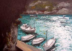 Cuadro al oleo de un efecto de reflejo en Cala Pi, Mallorca