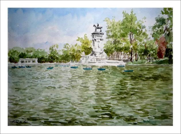 Cuadro en acuarela del estanque del Retiro en Madrid