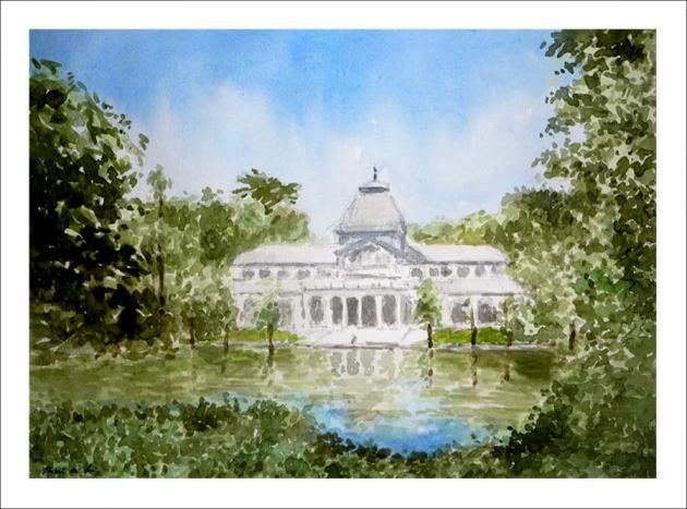 Cuadro en acuarela del Palacio de Cristal en el Retiro, Madrid.