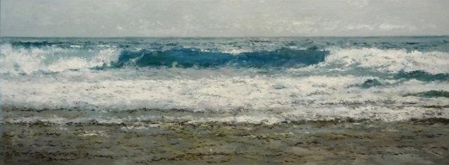 Cuadro al oleo de una marina del Mar Cantàbrico. 100x38 cms. Rubén de Luis.